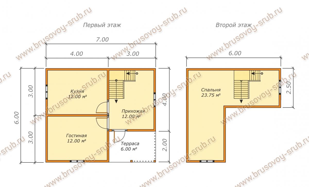 План проекта дома из бруса с мансардой