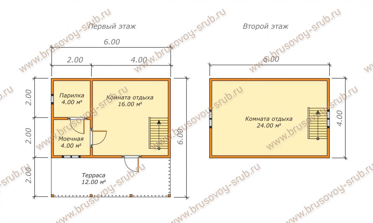 План брусовой бани с двускатной крышей