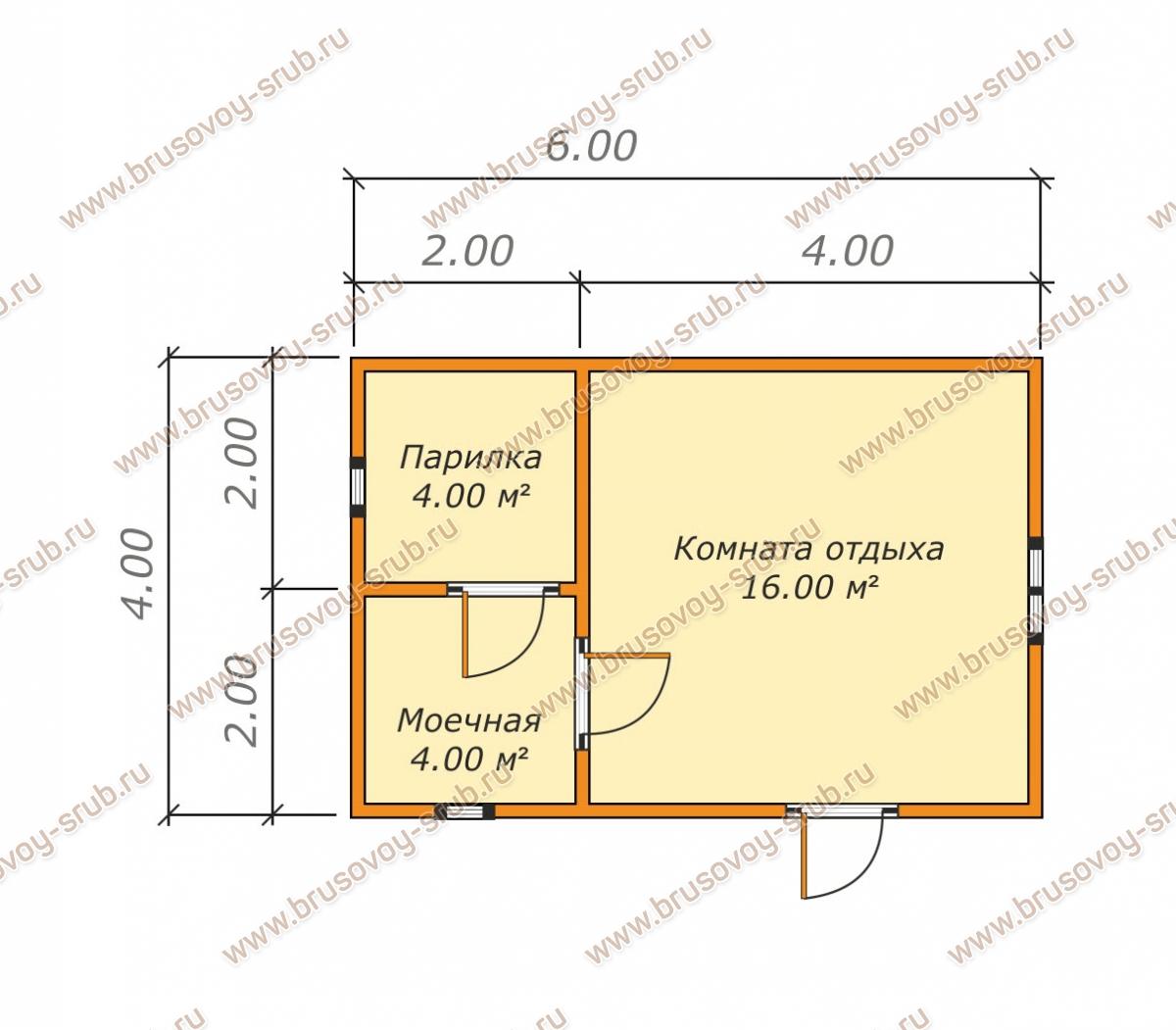 Проект одноэтажной бани