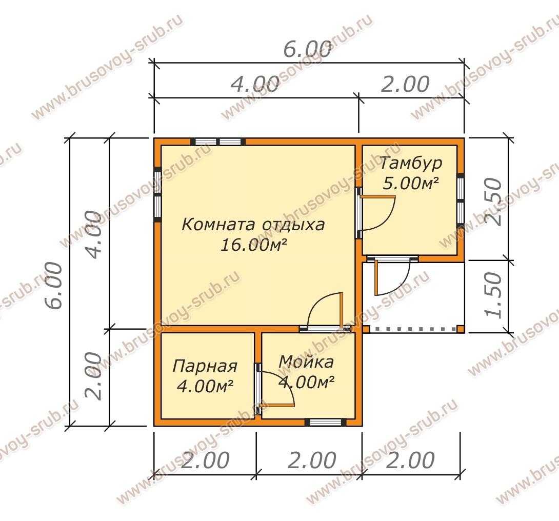 План одноэтажной бани с крыльцом