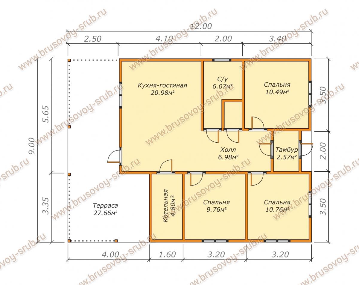 Проект одноэтажного дома 9х12