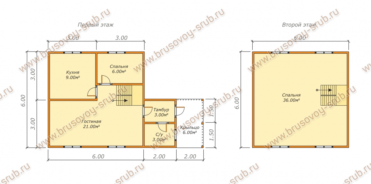 План-1 дома из бруса 6х10