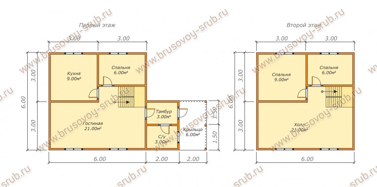 План-2 дома из бруса 6х10