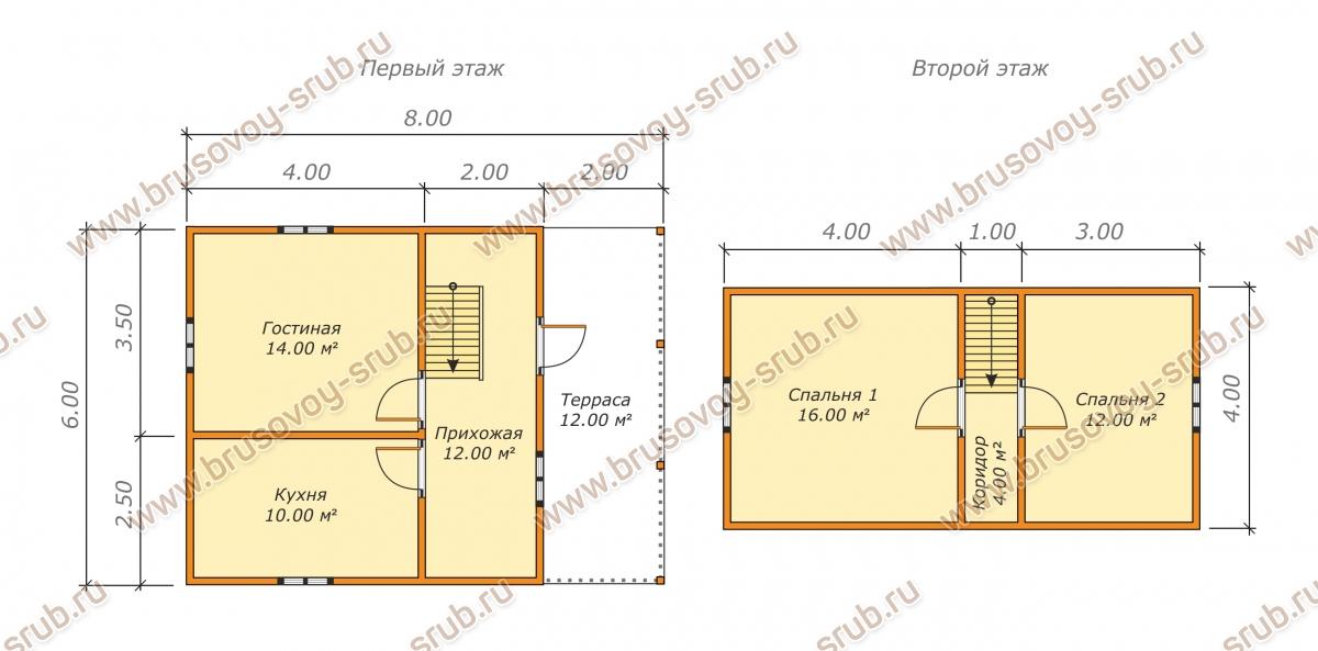 План дома из бруса с мансардой