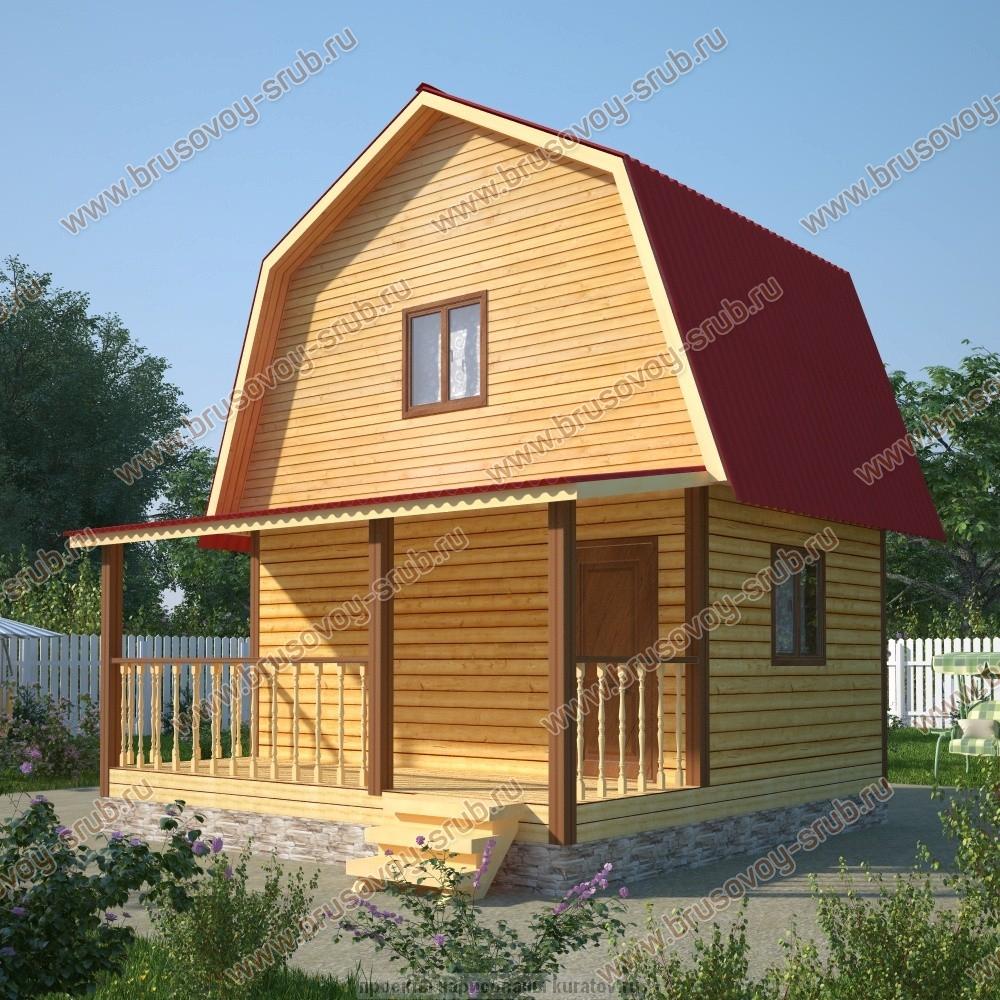 Проект брусового дома 6х6 с мансардой