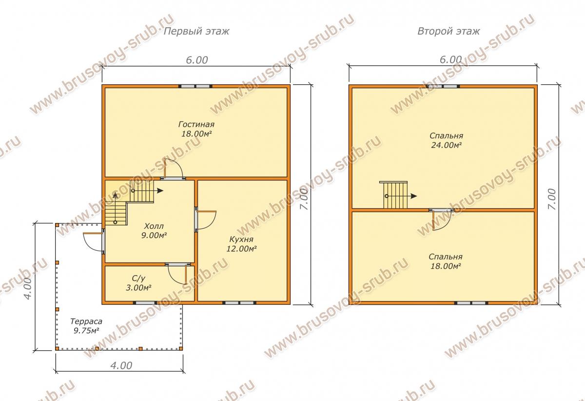 План дома с мансардой и полувальмовой крышей