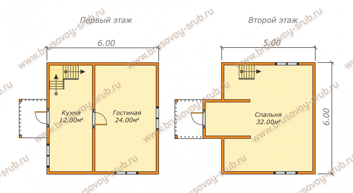 Схема проекта дома из бруса 6х6 с мансардой