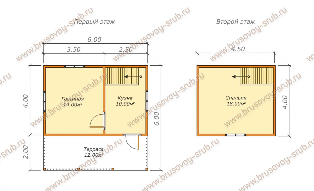Схема проекта брусового дома 6х6 с мансардой