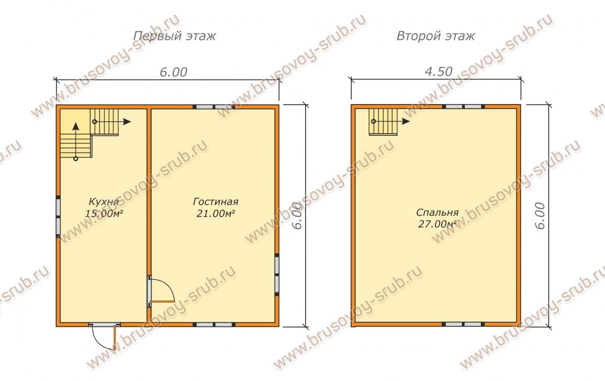 Схема проекта дома из бруса 6х6