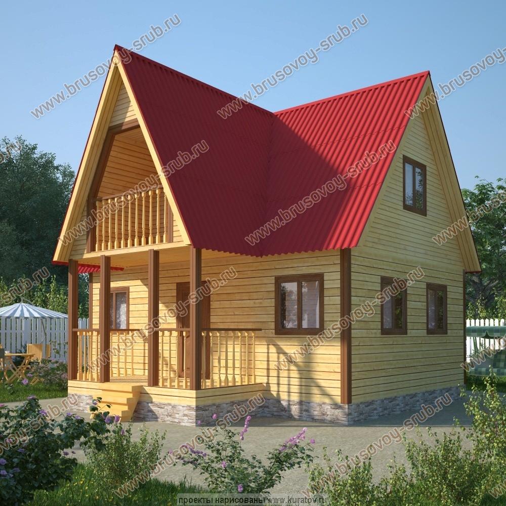 Дом из бруса с мансардой и террасой