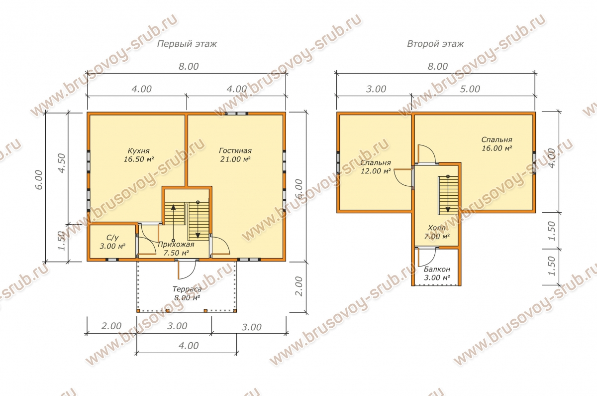 План дома из бруса с мансардой и террасой