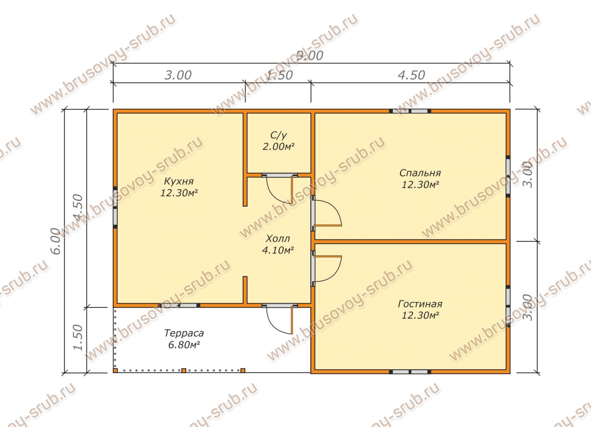 план проекта дома из бруса 6х9 метров