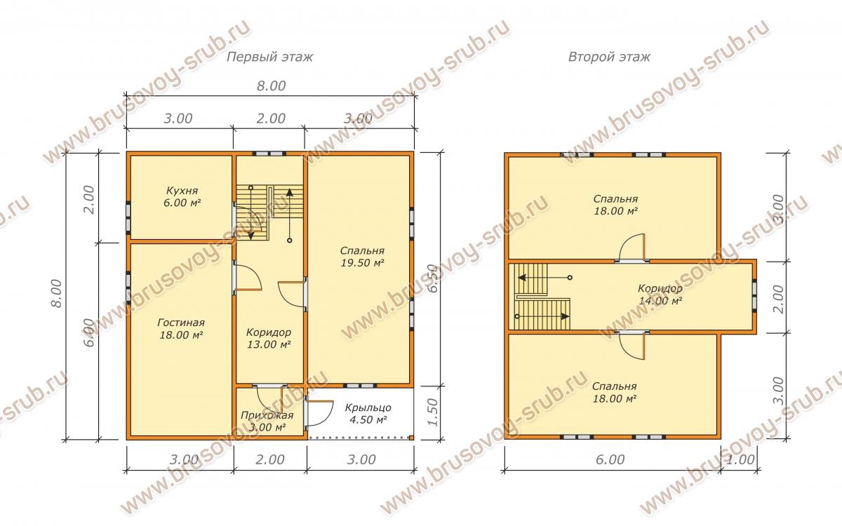 план проекта дома из бруса 8х8 метров