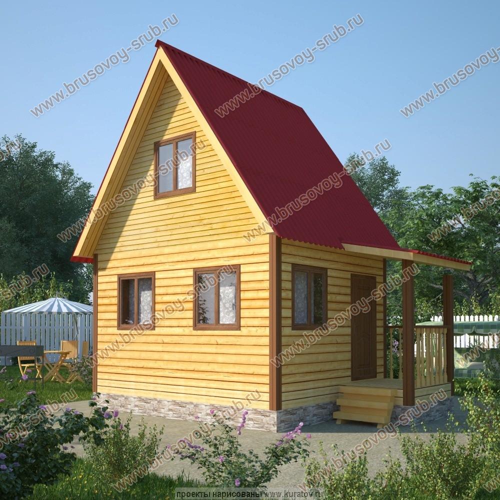 проект дома из бруса 4х5 метров с мансардой