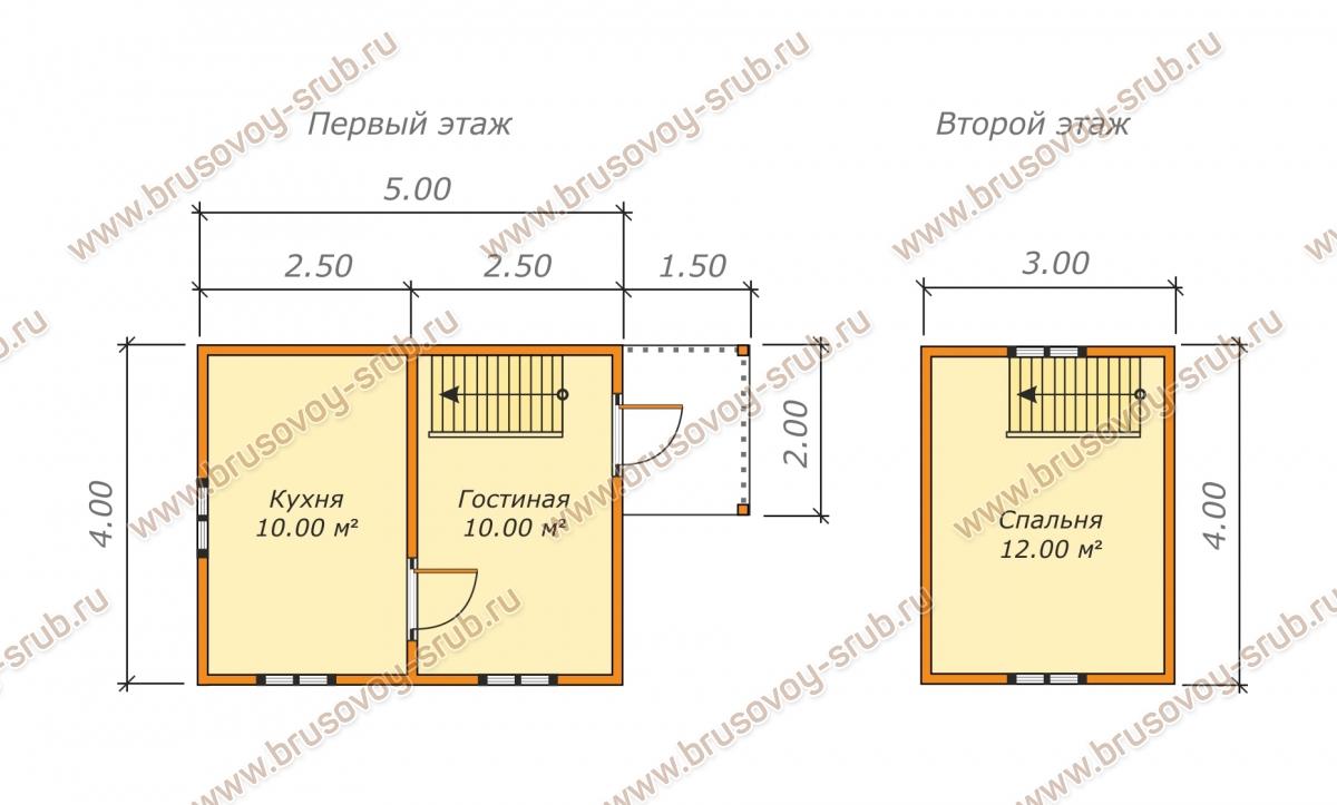 план проекта дома из бруса 4х5 метров