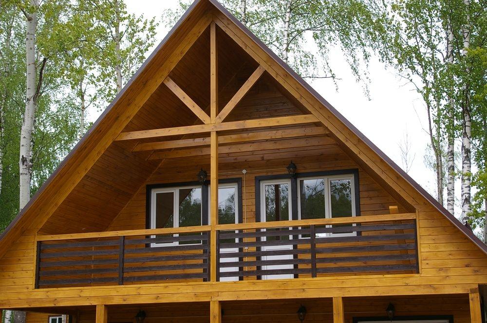 балкон в деревянной бане