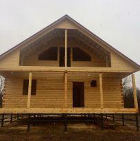 Строительство дома 9х9 с террасой.