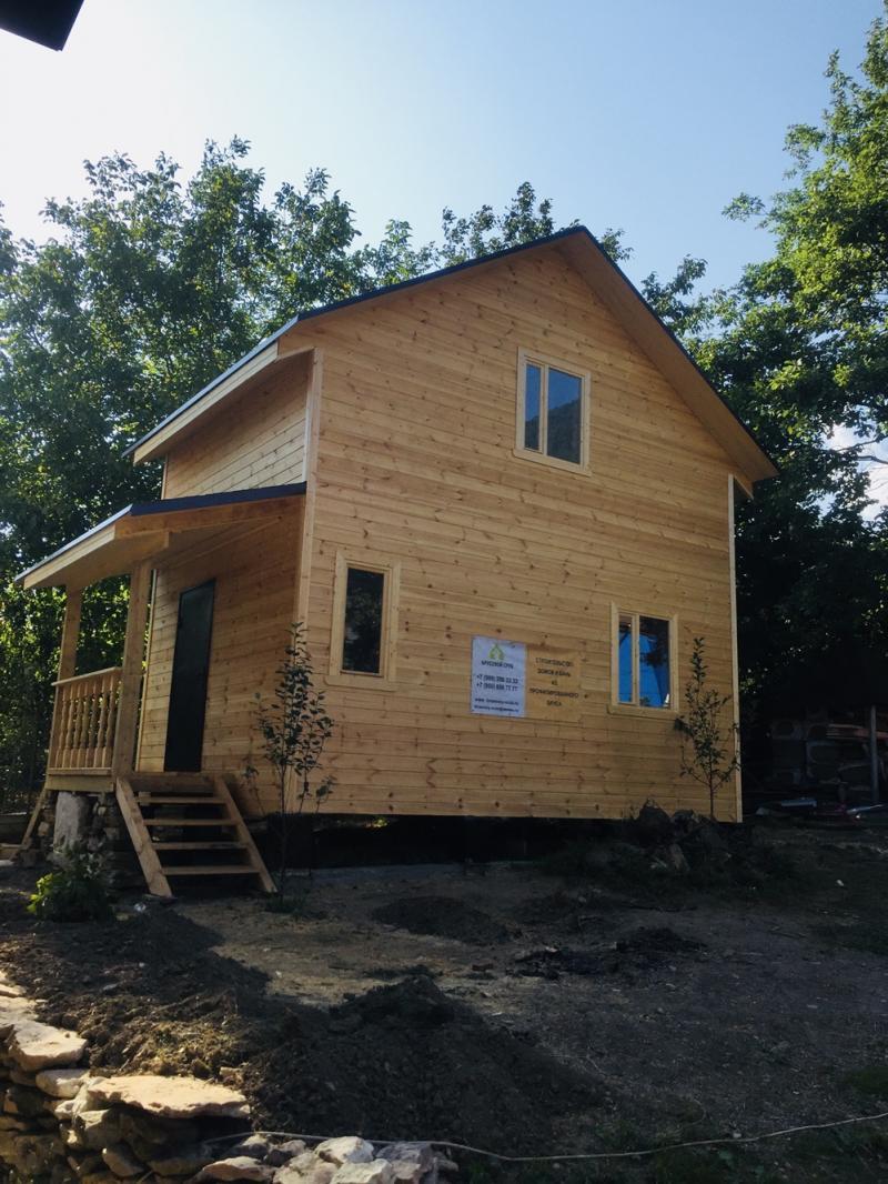 Каркасно-щитовой дом 6x4м в 1.5 этажа