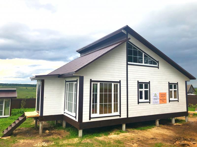 Одноэтажный дом 7.5х9.5м из профилированного бруса камерной сушки